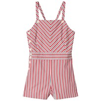 Ralph Lauren Striped Bow-Back Cotton Romper Red/White Multi 001