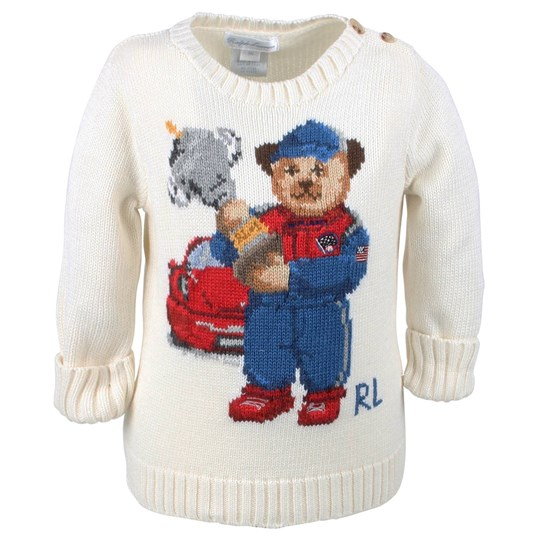 Ralph Lauren Boy Icon Bear Sweater White White