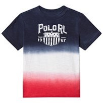 Ralph Lauren Navy and Red Dip Dye Tee 001