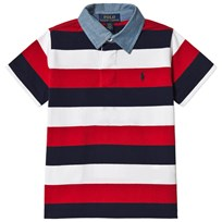 Ralph Lauren Red, Navy and White Jersey Polo 001