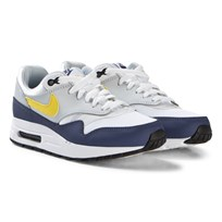 NIKE White and Blue Nike Air Max 1 Shoe 107