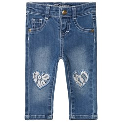 Guess Mid Wash Lace Heart Jeans