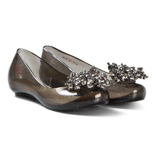 Guess Black Glitter Brooch Jelly Shoes and Bag 001