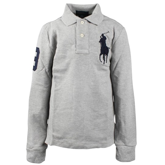 Ralph Lauren LS Custom Fit Polo Big Grey  Black