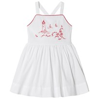 Ralph Lauren White and Red Coastal Embroidered Pinafore Dress 001