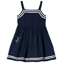 Ralph Lauren Cotton Seersucker Dress Summer Navy 001