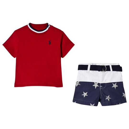 Ralph Lauren Red Tee with Star Shorts Set 001