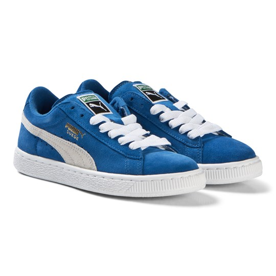 new style d3050 42940 Puma - Suede Jr Blue and White Trainers - Babyshop.com