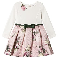 Monnalisa Floral Bow Belted Dress Cream/Pink