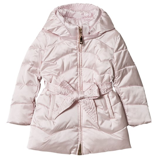 Monnalisa Pale Pink Quilted Longline Coat with bow Belt Detail