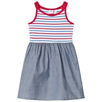GAP Navy and Stripe Mix-Fabric Chambray Dress Navy Red Stripe