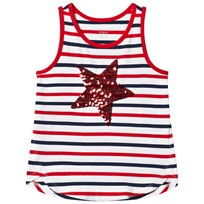Lands End Sequin Star Tank Top Red RVJ