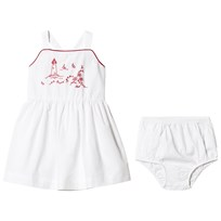 Ralph Lauren White Coastal Embroidered Pinafore Baby Dress 001