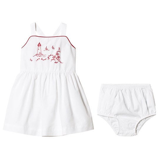 Ralph Lauren White Infants Coastal Embroidered Pinafore Dress 001