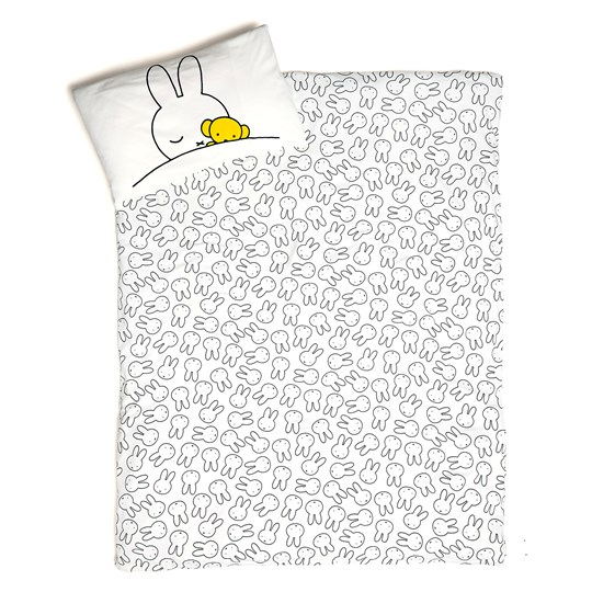 Tobias & The Bear White Miffy Face and Miffy Asleep Graphic Duvet Cover and Pillow Case White