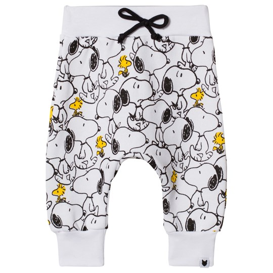 Tobias & The Bear White Snoopy & Woodstock Loopback Sweatpants White Coloured Base