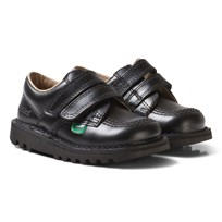 Kickers Black Velcro Kick Lo School Shoes Black