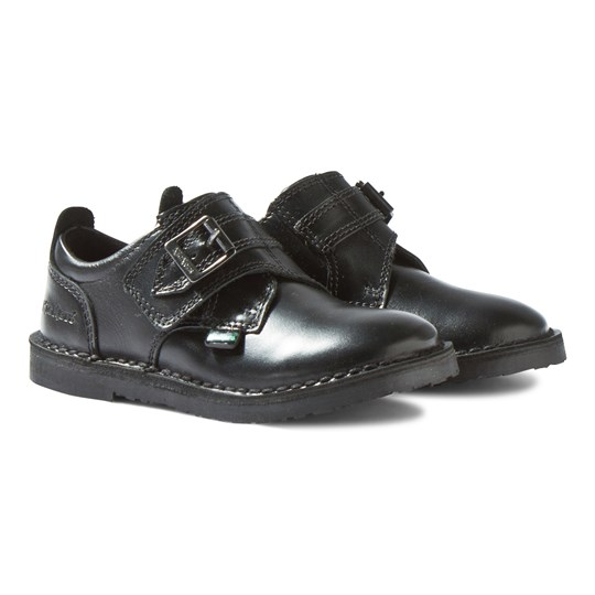 Kickers Adlar Monk Strap Black Leather Shoes Black