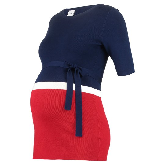Mamalicious Navy Red and White Knit Top Medieval Blue