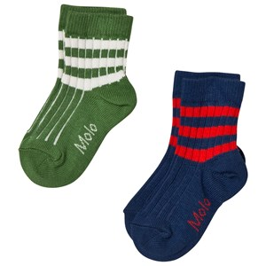 Image of Molo 2-Pack Nickey Socks Field Green 17-19 (6-9 mdr) (3031526233)