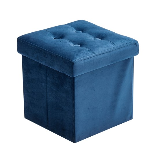 Kids Concept Storage Box Velvet Navy Blue