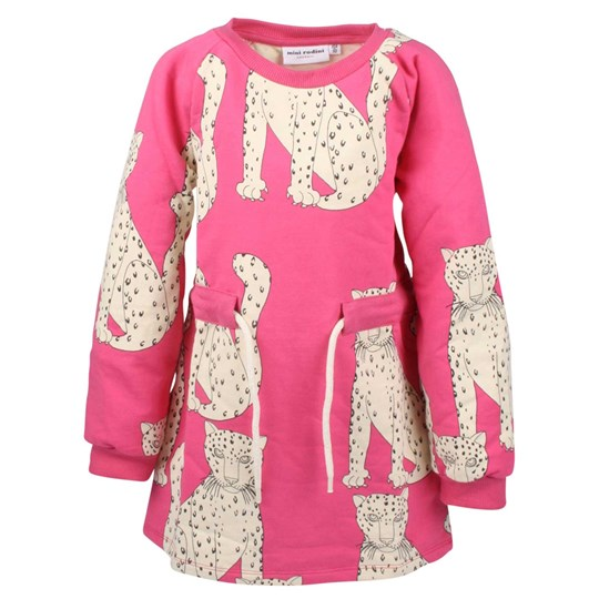 Mini Rodini Snow Leopard Dress Cerise Pink