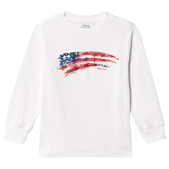 Ralph Lauren White USA Branded Long Sleeve Tee 003