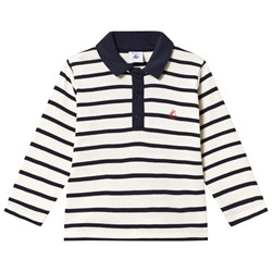 Petit Bateau Long Sleeve Polo Tee Marine Cream