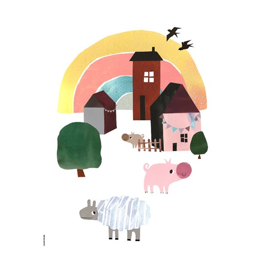 I Love My Type Cozy Village Life Print White A3 White