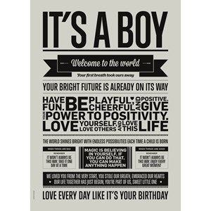 Image of I Love My Type It's a Boy Print Pale Grey A3 (3031530109)
