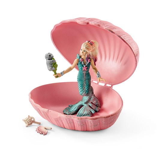 Schleich Mermaid with Baby Seal Shell Pink