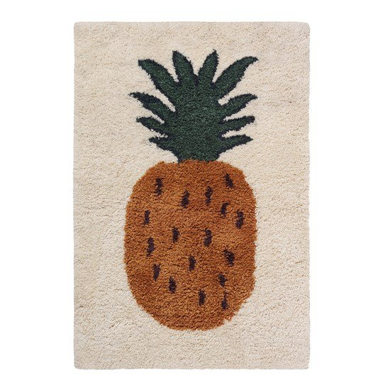ferm LIVING Fruiticana Tufted Pineapple Rug - Small Cream with Deep red and Curry