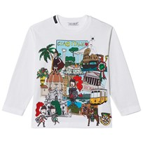 Dolce & Gabbana White Italy Postcard Print Long Sleeve Tee HWQ35
