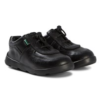 Kickers Black Leather Jiri School Shoes Black Leather