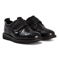 Kickers Black Leather Kymbro Brogue Velcro Shoes Black Leather