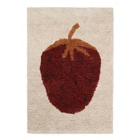 ferm LIVING Fruiticana Tufted Strawberry Rug - Small Cream with Curry and deep green