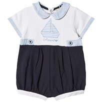 Armani Junior White and Navy Boat Outfit Set Romper 1100
