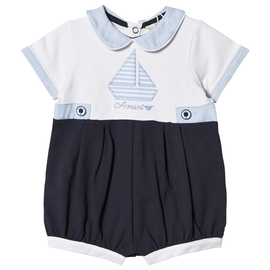Emporio Armani White and Navy Boat Outfit Set Romper 1100