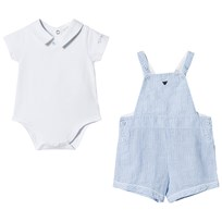 Armani Junior Light Blue Overalls and Jersey Polo Set 0505