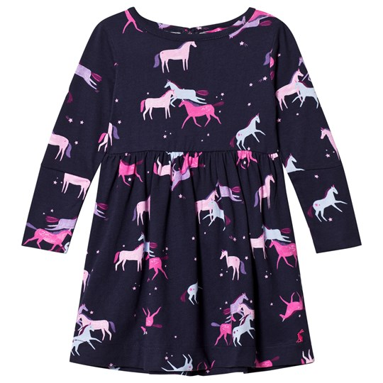 Tom Joule Navy Unicorn Print Alina Panelled Jersey Dress NAVY MAGIC UNICORN