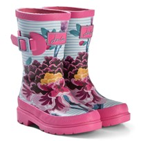 Tom Joule Pink Stripe Floral Wellington Boots SKY BLUE CHINOISE FLORAL