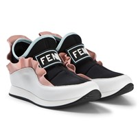 Fendi Black and Pink Logo Neoprene and Leather Trainers F13CJ