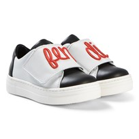 Fendi White and Black Embroidered Velcro Trainers F0NS8