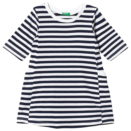 United Colors of Benetton Navy and White Stripe Dress Navy