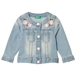 United Colors of Benetton Blue Jacket with Flowers Applique