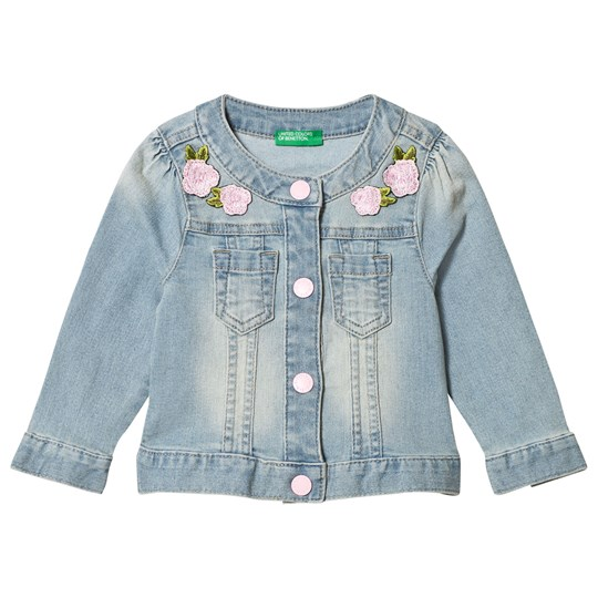 United Colors of Benetton Blue Jacket with Flowers Applique Blue