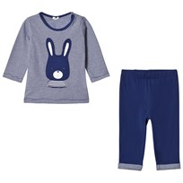 United Colors of Benetton T-Shirt and Trousers Set Denim Blue Denim Blue