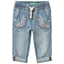 United Colors of Benetton Blue Jeans with Embroidered Flowers Blue