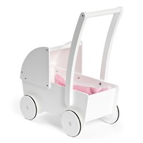 STOY White Wooden Doll Stroller