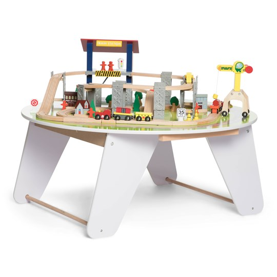 STOY Round White Wooden Train table Multi